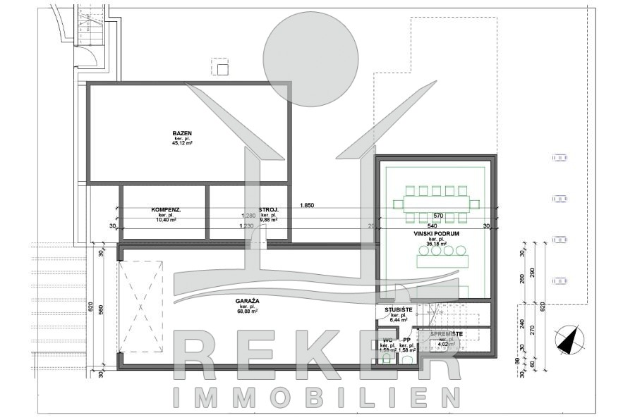 Immobilien luxus villa grundriss  Stadt Krk Luxus Villa mit großem Pool und Meerblick