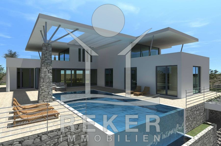 Stadt Krk Luxus Villa mit großem Pool und Meerblick