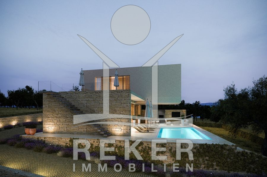 Insel Krk Stadt Krk Neubau Villa mit Pool und Meerblick