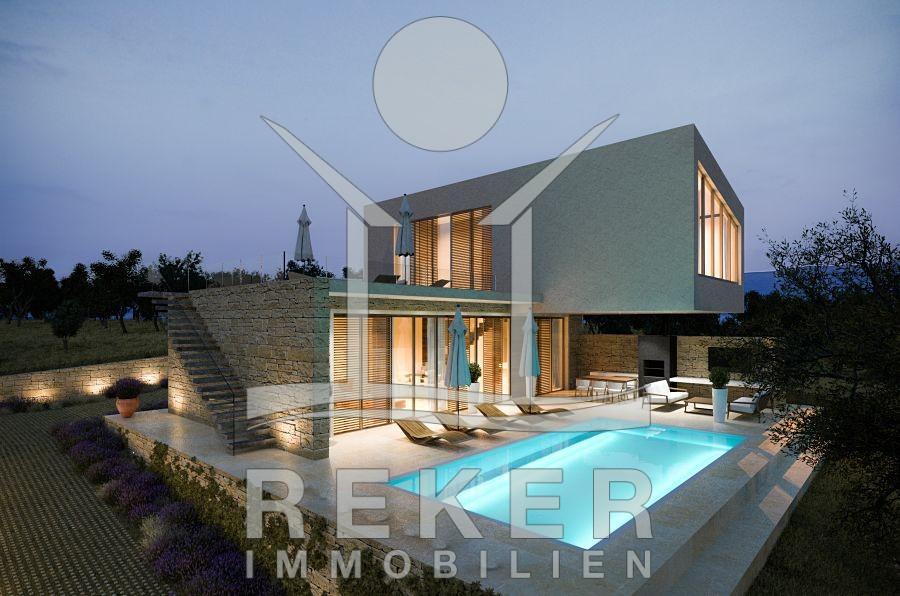 Modernes haus mit pool und garten for Modernes haus villa