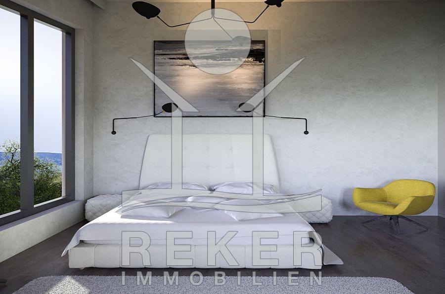 Luxus schlafzimmer mit meerblick  Insel Krk Stadt Krk Neubau Villa mit Pool und Meerblick
