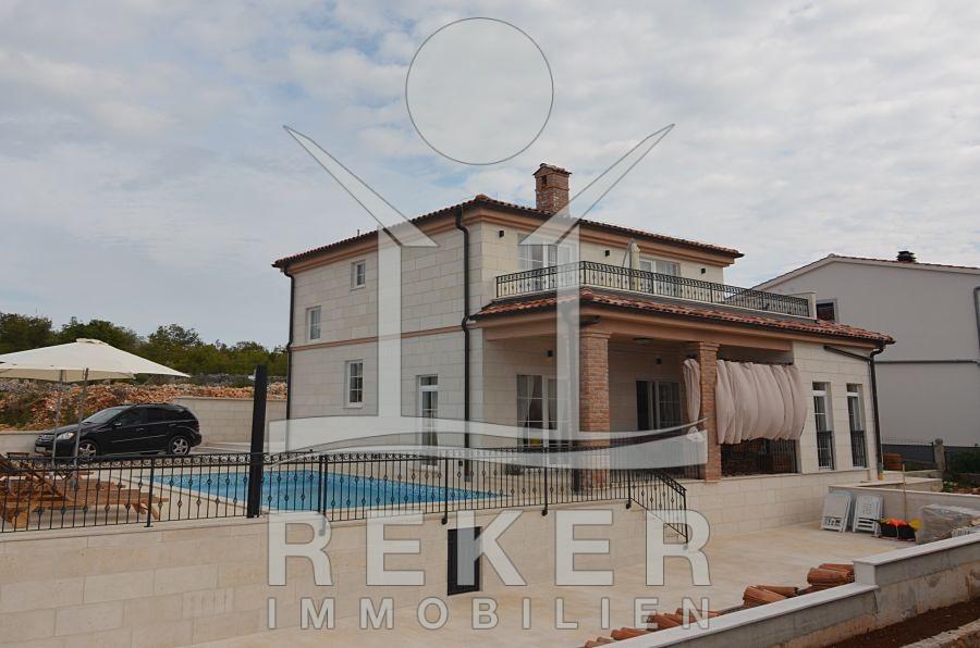 Insel Krk Stadt Krk schöne Stein-Villa mit tollem Pool