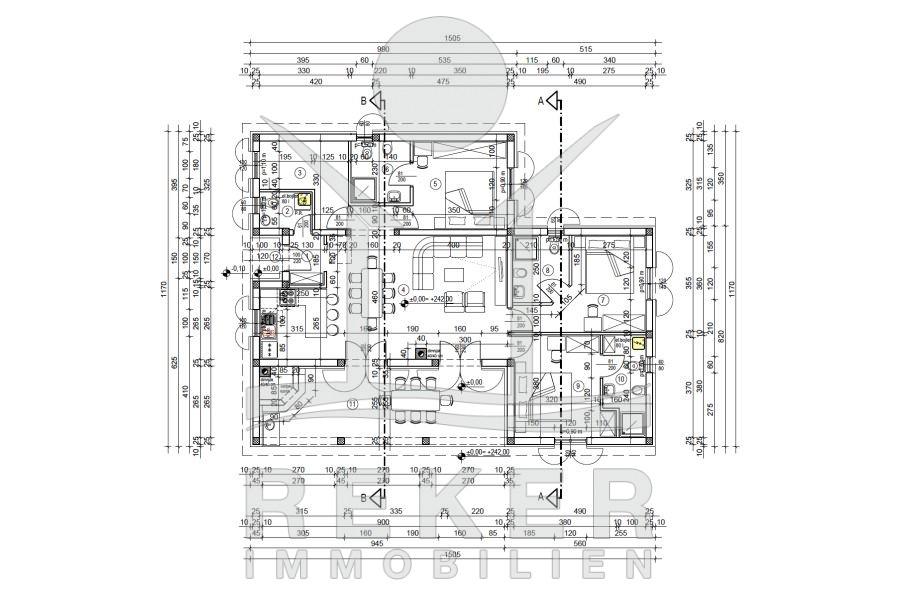 Grundriss villa mit pool  Insel Krk sehr hochwertige Steinhaus Villa mit Pool