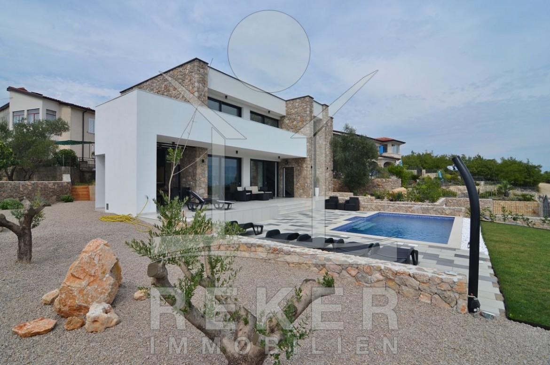 Insel Krk Bucht Soline exklusive neue Villa mit Pool